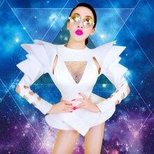 Nouveau Bar DJ Sexy discothèque chanteur danse vêtements mode épaule une pièce Costume blanc pour dame