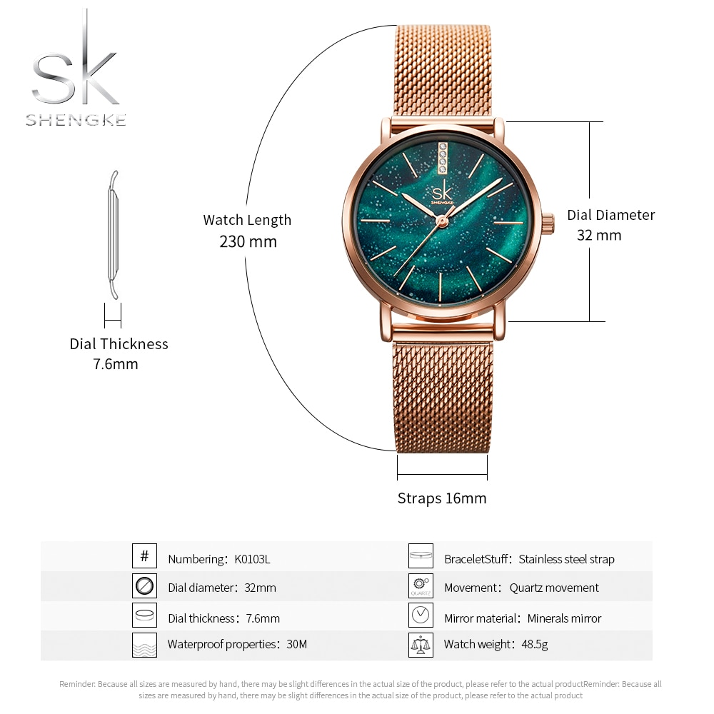 Shengke SK Starry Sky Watch Women Watches Green Dial Fashion Style damen uhr Quartz Wrist Watches Mesh Strap reloj femenino enlarge