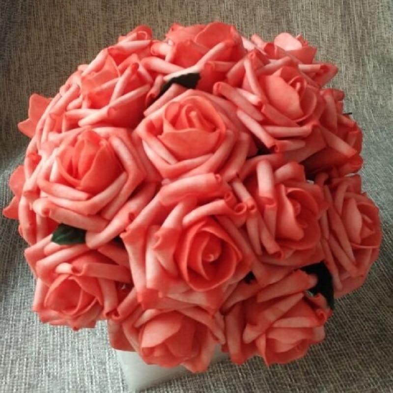 24 racimos de flores artificiales de Coral rosas 144 cabezas de flores para decoración para fiesta de boda centros de mesa ramos de novia