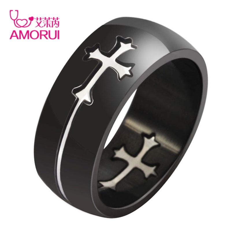 AMORUI модные вечерние кольца из нержавеющей стали черного цвета с разделяемым крестом для мужчин и женщин, крутые мужские повседневные дизай...
