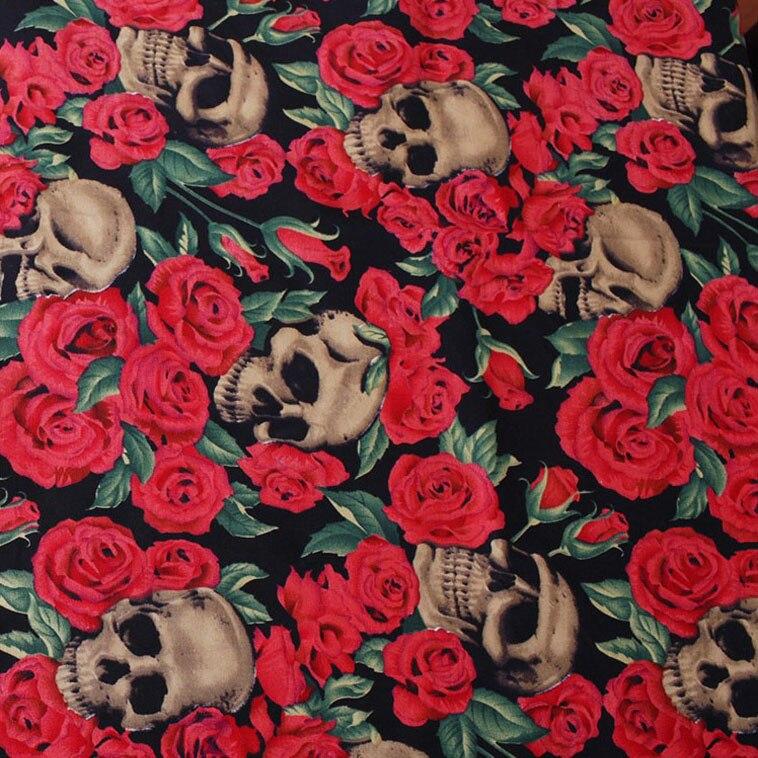 ¡Top de moda! 1 unids/lote 50*140cm mezcla de calavera de Rosa serie de tela de algodón saludable ropa de cama tela de coser para manualidades D30