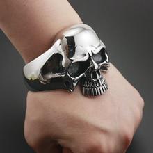 316L acier inoxydable énorme crâne lourd hommes Biker Rocker Punk Bracelet manchette Bracelet 5J022