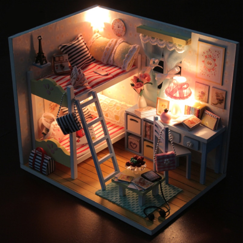 DIY casa de muñecas Miniatura con muebles casa de muñecas 3D casa de muñecas de madera Hanmade modelo juguetes regalo para niños recuerdos románticos D014 # E