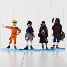 4pcs/lot 11cm-13cm Anime Naruto Uchiha Sasuke Itachi Uchiha Madara Cool PVC Action Figure Model Toys Doll