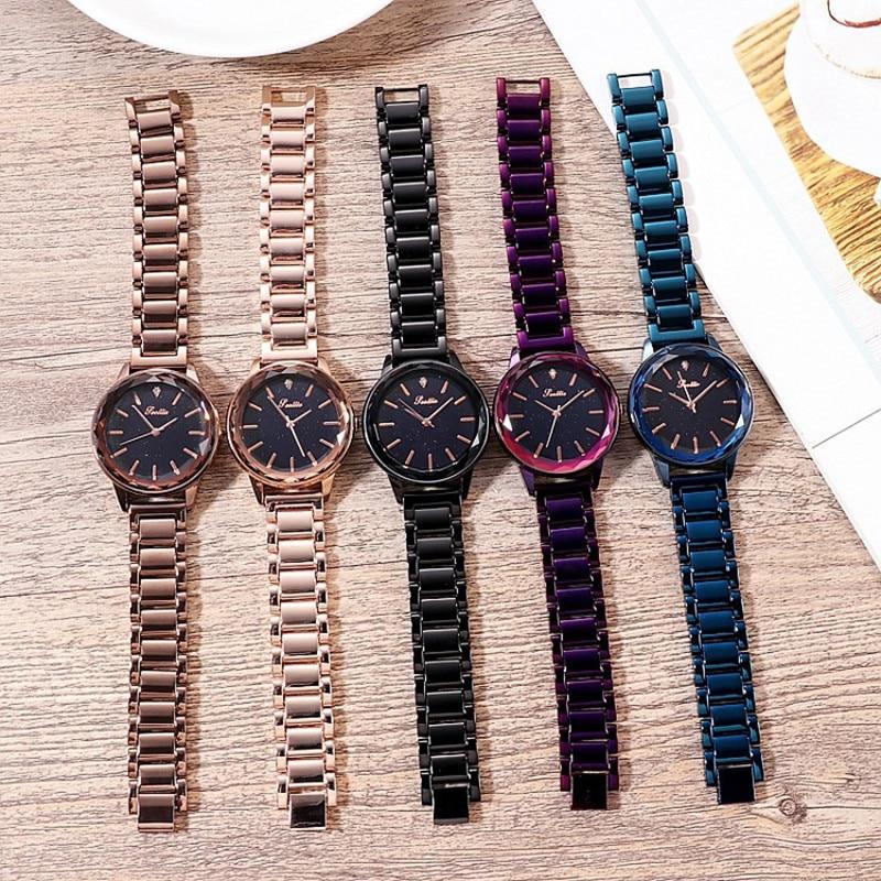 New Luxury Starry Dial Diamond Women Watches Fashion Lady Casual Quartz Watch Women Stainless Steel Dress Wrist Watch Clock Gift enlarge