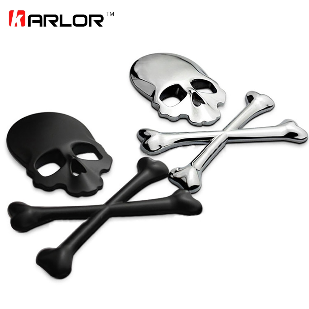 Calavera 3D Metal/ABS esqueleto Crossbones coche motocicleta pegatina etiqueta cráneo emblema insignia coche pegatinas de diseño accesorios de la etiqueta