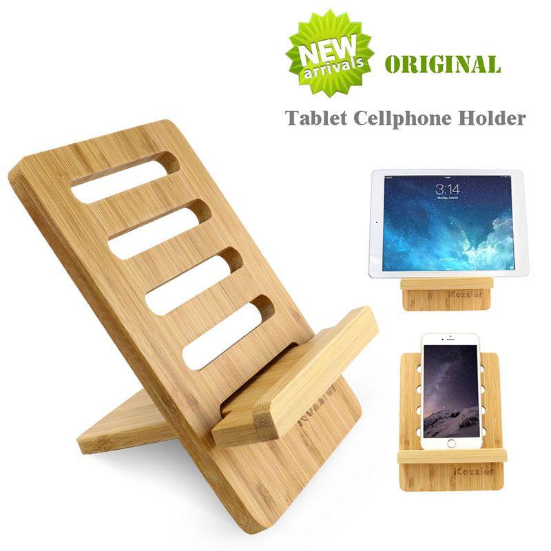 ICozzier бамбуковая Регулируемая подставка для планшета многоугольный портативный держатель для iPad или мобильных телефонов