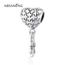 NBSAMENG Original 925 Sterling Sliver Bead Charm Puzzle Heart Love Pendant Beads Fit Pandora DIY Bracelets & Bangles Necklace