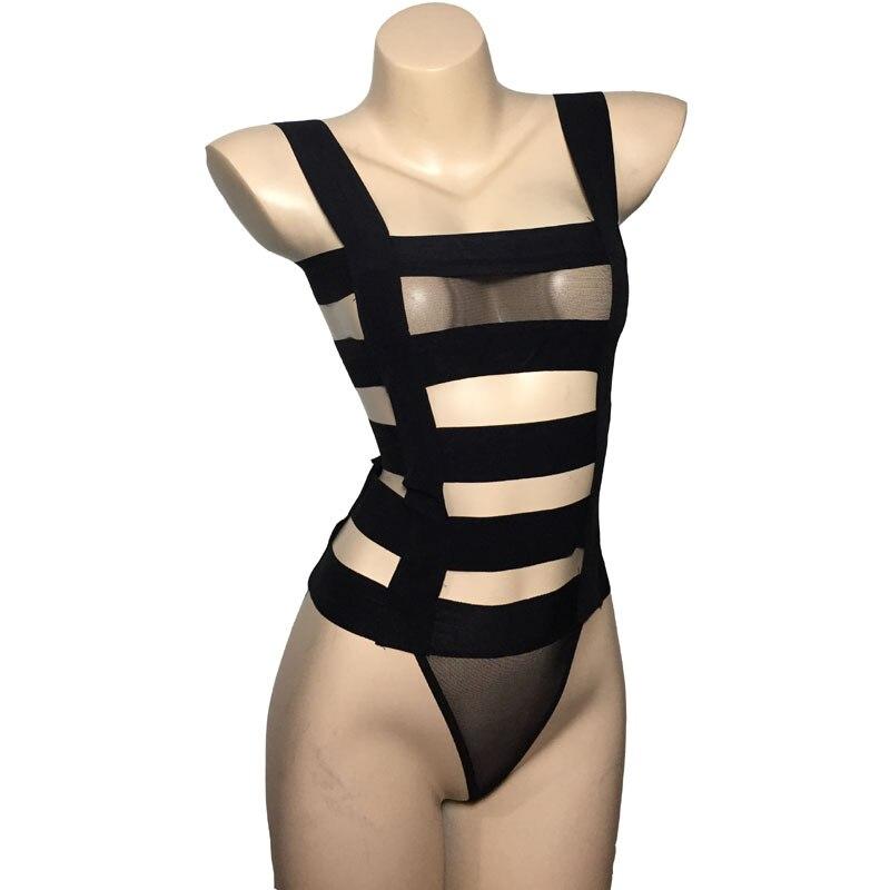 Mujeres Sexy de Nylon de la esclavitud rayas cuerpo arnés lencería Body de malla con sujetador y tanga de señora ropa interior traje