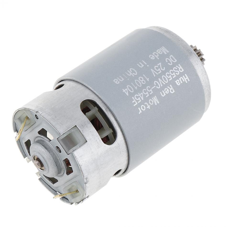 25V  12 Teeth motor RS550 19500 RPM DC Motor with Two-speed 12 Teeth and High Torque Gear Box for Electric Drill / Screwdriver rs550 dc motor 12v 16 8v 21v 25v 19500 rpm dc motor two speed 9 12 teeth high torque gear box for electric drill screwdriver