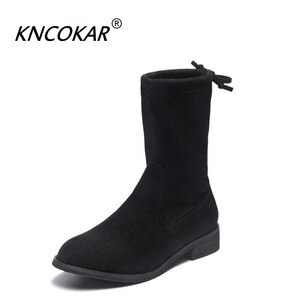 KNCOKAR Fall And Winter New Black Fashion Casual Short Boots Round Head With Thick Pile And Martin Boot Women's Shoes