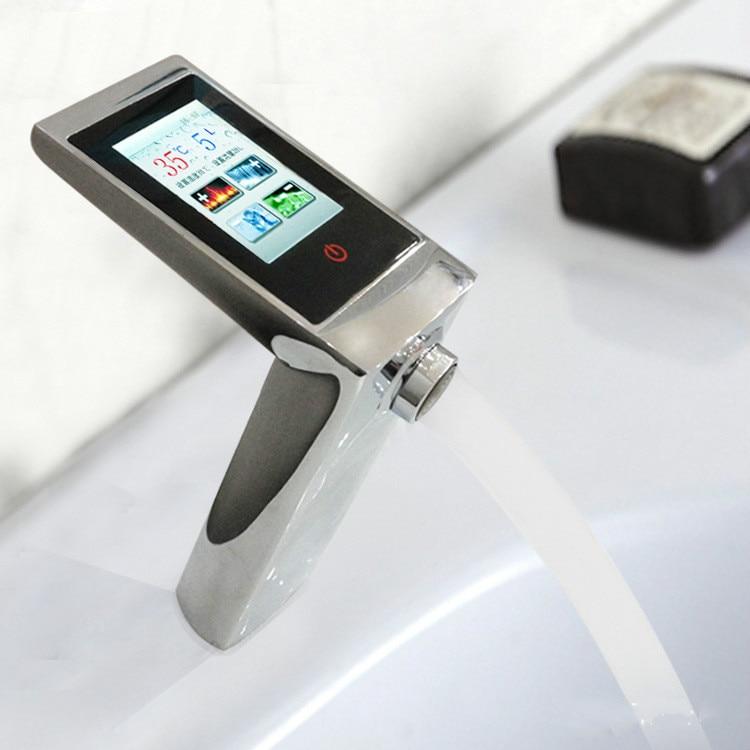 ثرموستاتي حوض صنبور شاشة تعمل باللمس درجة الحرارة والتحكم في التدفق صنبور الرقمية الذكية اللمس صنبور