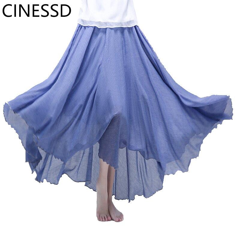 CINESSD mujer sólido Swing plisado Maxi falda Oficina señora alta cintura Casual fiesta suelta algodón Flowy ligero faldas largas