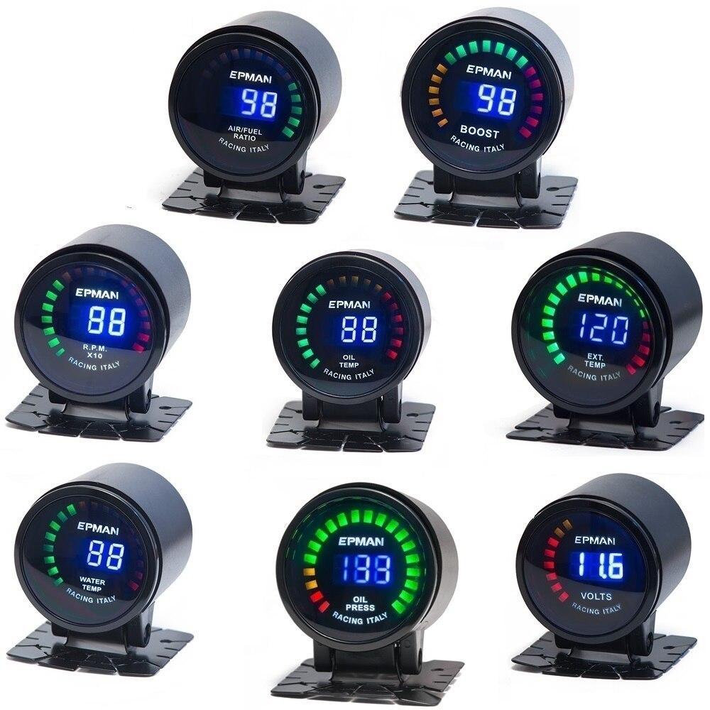 """Auto 2 """"Digital LED EGT/Turbo Boost/Volt/temperatura del agua/Prensa de aceite/RPM/aire/combustible/medidor de temperatura de aceite con Sensor TK-GA50EXTT"""