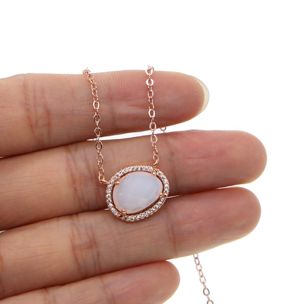 Collar vermeil de color oro y luna de piedra de corte natural, COLLAR COLGANTE de cristal de piedra de color Dorado a la moda para mujer