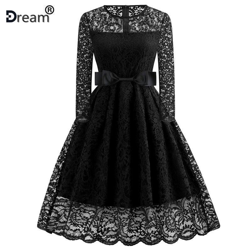 Women Winter Lace Dress Long Sleeve Sexy Evening Party Dresses Hepburn 50s Elegant Vintage Autumn Dress Plus Size Belt Tunic