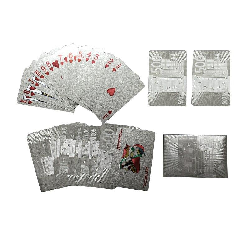 Juego de cartas de plata de 24K, juego de cartas de aluminio plateado de póquer, cartas de juego duraderas a prueba de agua, tarjetas de póker con diseño de Euro dólar de EE. UU.