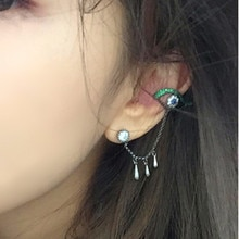 New Cute Eye Crystal Earrings Long Water Droplets Chain Tassel Earrings Personality design Wholesale