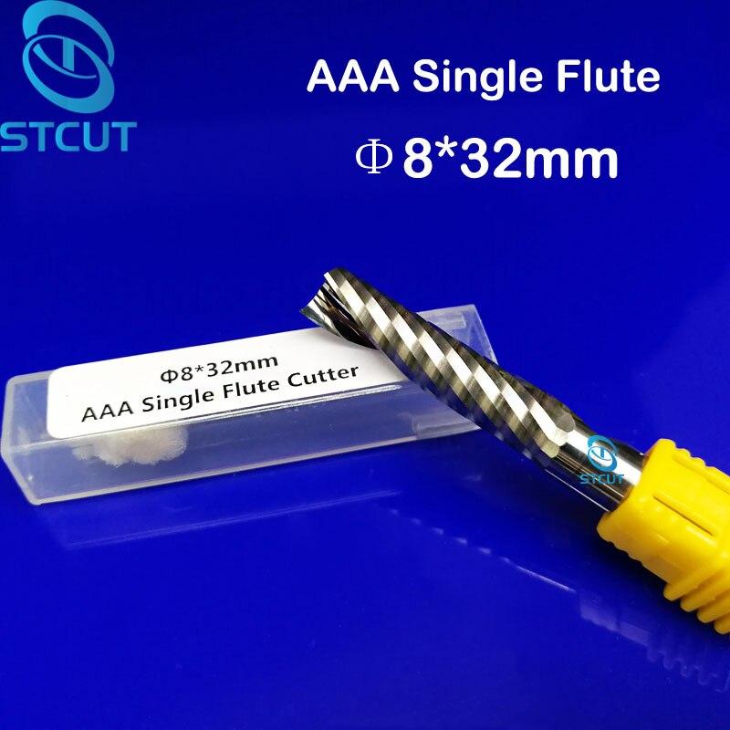2 uds. De herramientas de fresado CNC de flauta única de 8*32MM, fresas de grabado, brocas de tallado de madera, cuchilla de taladro para cortar MDF, acrílico, Plástico