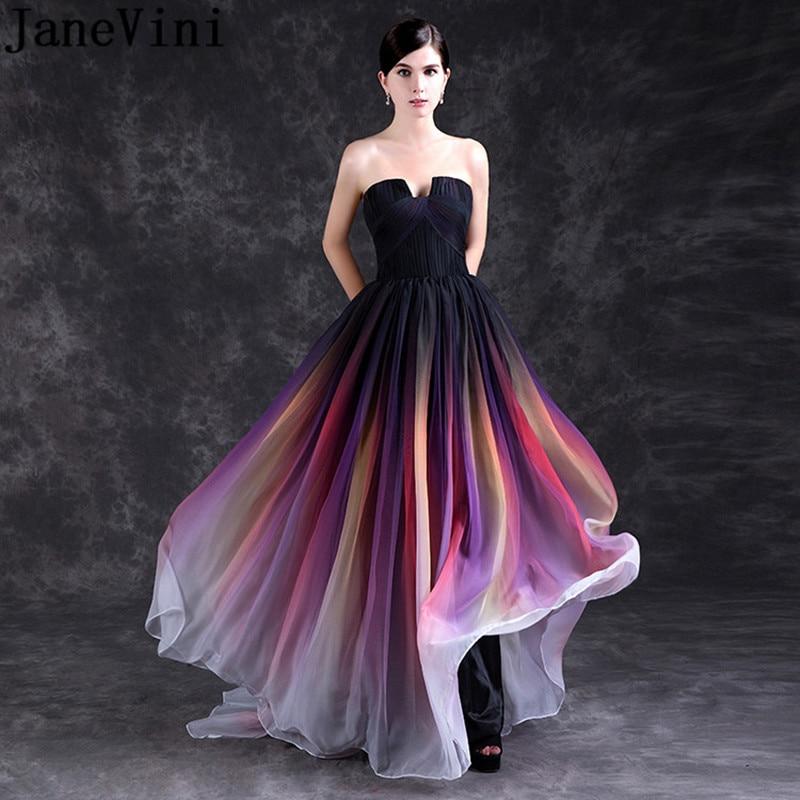 JaneVini 2018, elegante vestido de dama de honor con gradiente de talla grande, Largo sin tirantes, vestido de gasa colorido para fiesta de graduación o boda, Abendkleider