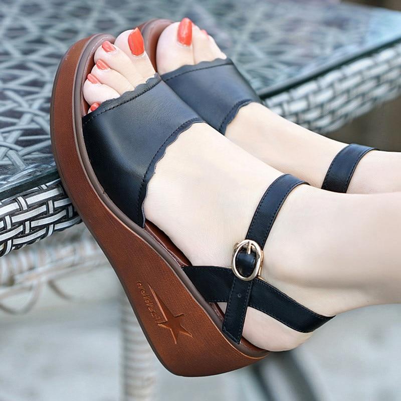 Big Size 33-43 Genuine Leather Shoes Woman Summer 2019 Platform Sandals Ladies Wedge Heels Leather Sandals Women Beach Shoe
