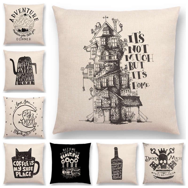 Gran oferta, letras decorativas blancas y negras, diseño interesante, café en casa, amor, gato, aventura, cojines de botella, funda de almohada