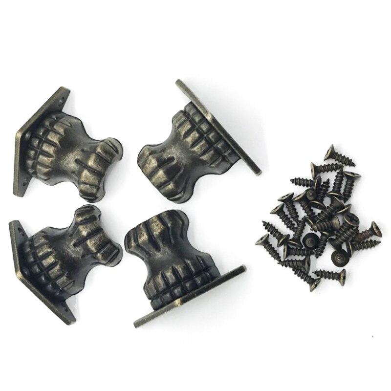 Alliage de Zinc rétro 4 pièces Antique en laiton bijoux coffre bois boîte pieds décoratifs jambe coin protecteur 35*25 MM