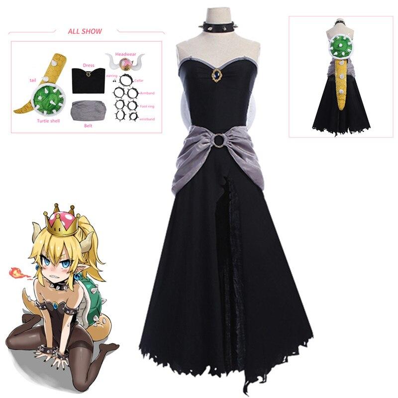 Vestido de lujo para adultos negro Bowsette para Mujer Princesa Super Mario Bros Bowsette carnaval fiesta Cosplay disfraz Halloween ropa linda