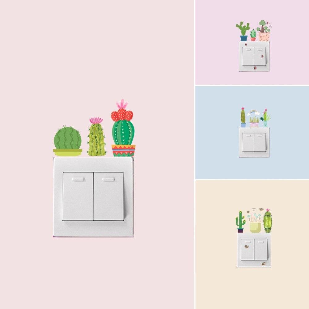 % Vinil espiga pêra vaso planta arco-íris borboleta grama cogumelo flor abelha animal interruptor de parede adesivos arte cartaz papel parede
