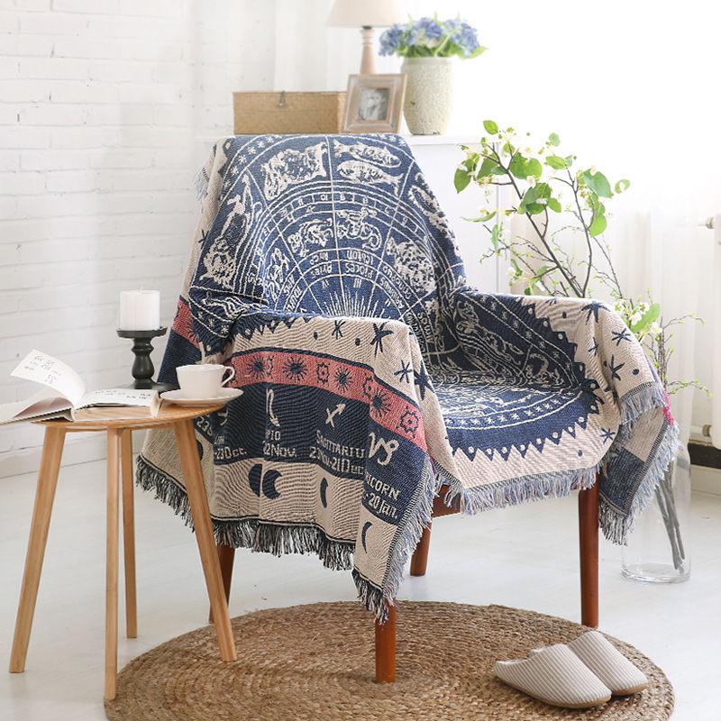 Коврик для дивана, покрытие, декор для стула, коврики, Ацтекский дизайн, хлопковый гобелен, кисточка, одеяло для дивана, Навахо, цыганское