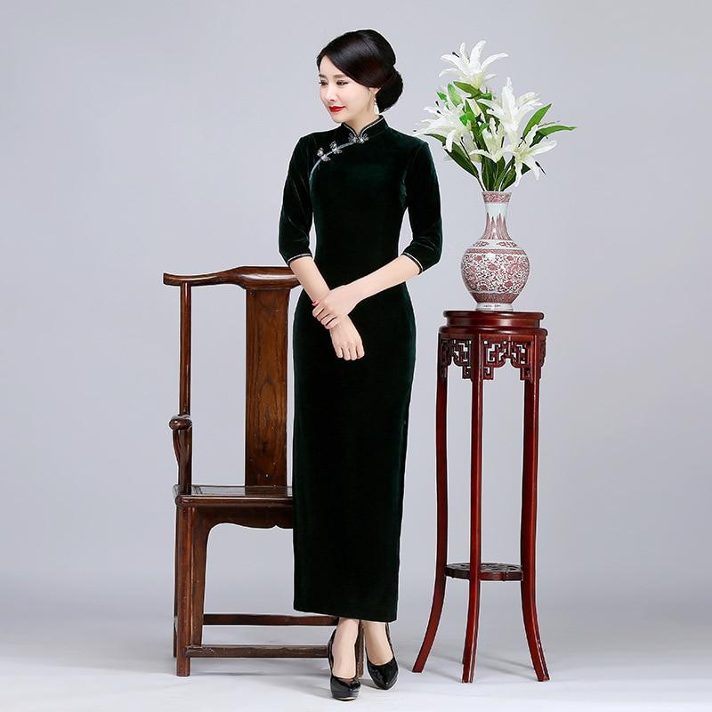 Estilo chinês tradicional vestido de noite feminino moderno cheongsam vestidos roupas orientais veludo seda casamento qipao vestido chino