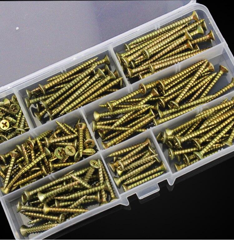 ¡Envío gratis! set de clavos autorroscantes de cabeza avellanada M4 de Color zinc duro de 200uds.