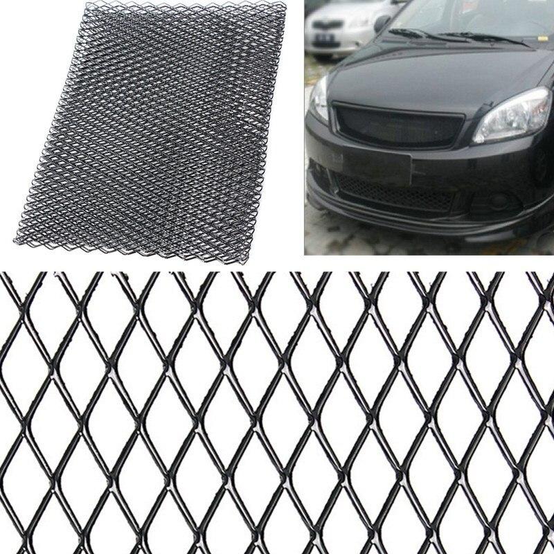 Universal Preto/Prata de Alumínio Grelha De Corrida Malha De Ventilação Carro Tuning Grill 100 centímetros x 33cm