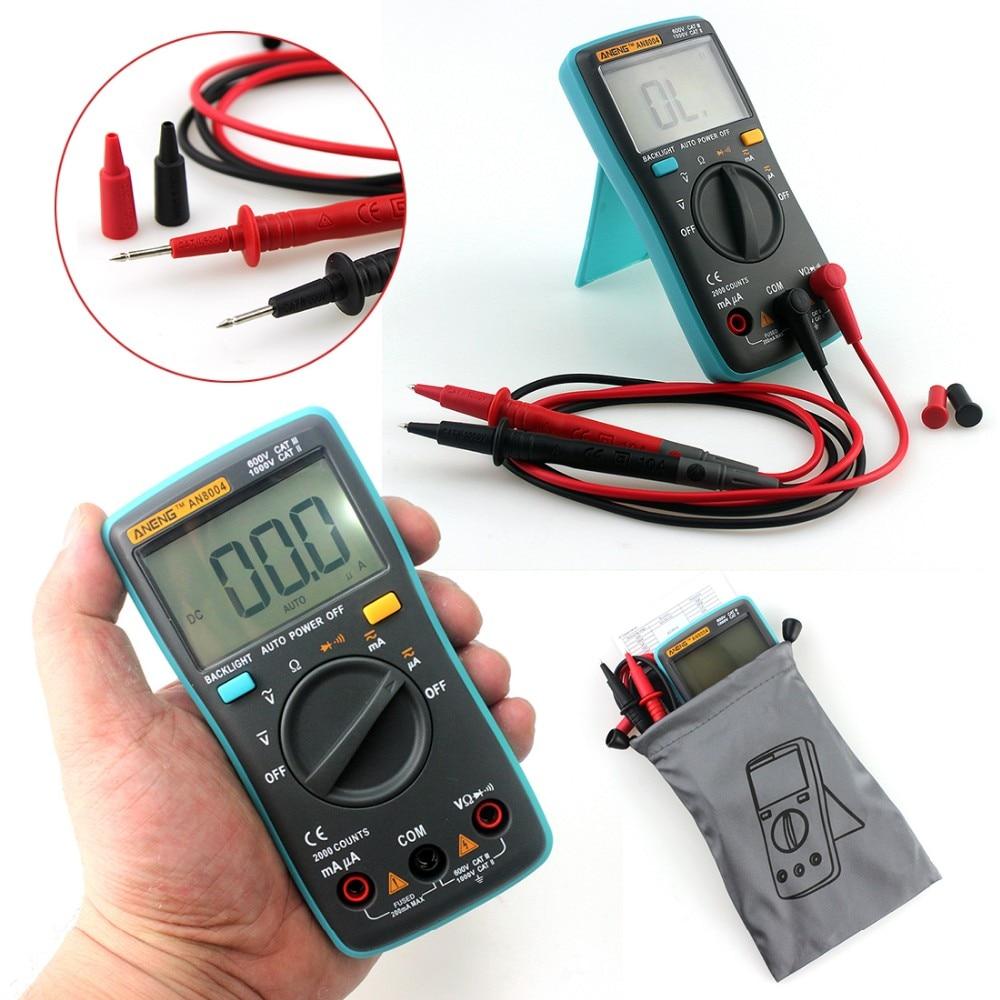 Цифровой мультиметр ANENG AN8004 с ЖК-дисплеем, вольтметр, амперметр, сопротивление, тестер транзисторов постоянного/переменного тока