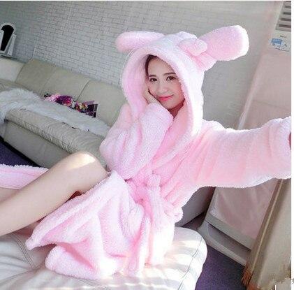 Mujer sexy de invierno kawaii batas animal conejo/ratón/puntada/elefante de manga larga Albornoz ropa de dormir