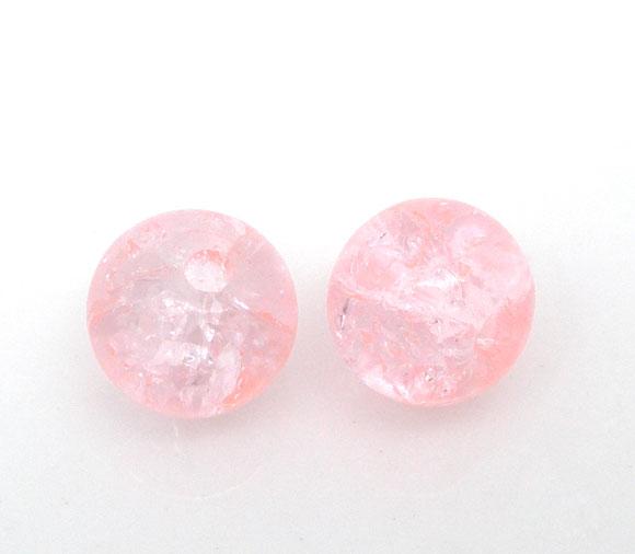 "Contas Loose vidro Redonda Rosa Crackle Cerca de 6mm (2/8 "") de Diâmetro, Hole Aprox 1mm, 65 PCs novo"
