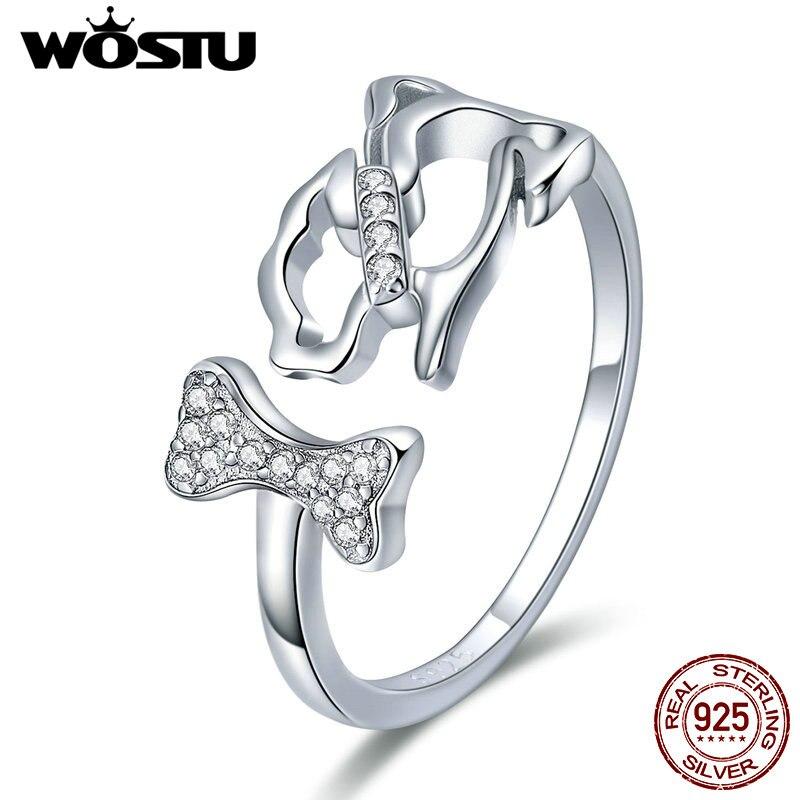 Anillo de Plata de Ley 925 auténtica wastu ajustable para mujer y Chica, anillo de plata para regalo, joyería para perro mascota FIR416