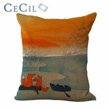 Taie doreiller série renard dessin animé   Taie doreiller en lin, couverture de coussin de canapé, Animal en coton, décoration pour chambre à coucher au bureau