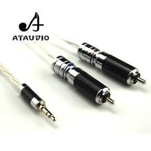 ATAUDIO Hifi verzilverd 3.5mm 2rca Kabel Hi-end 3.5 Aux naar Dubbele RCA MP3/MP4 Computer Amplifer Interconnector Kabel