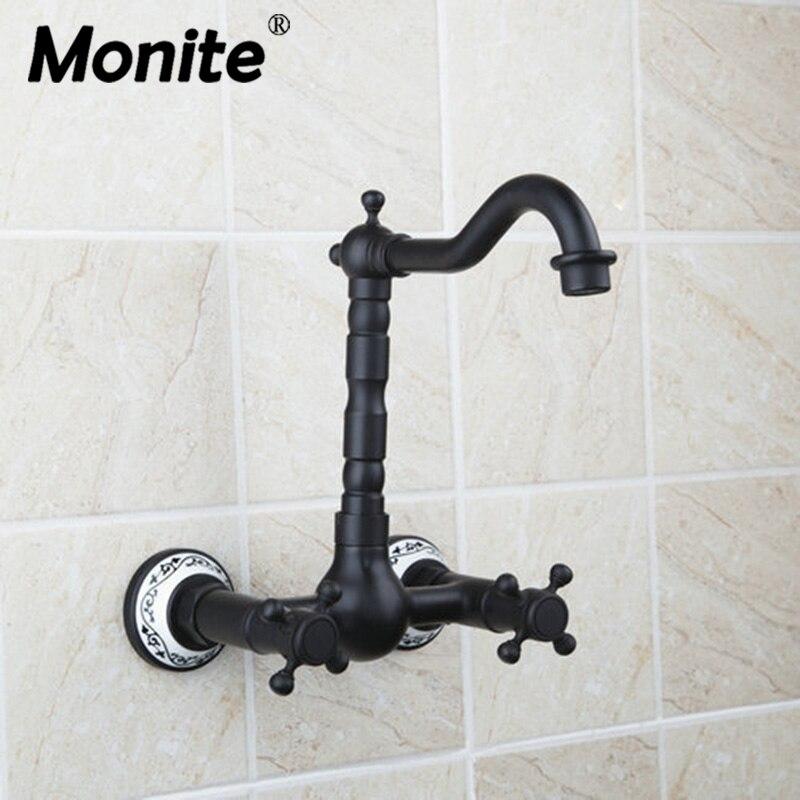 حنفية حمام مزدوجة مع مقابض مثبتة على الحائط من البرونز الأسود ، صنابير حوض الاستحمام ، خلاطات ساخنة وباردة