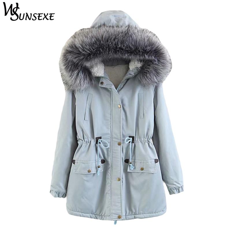 Fashion Parkas Jackets Winter Warm Faux Fur Hooded Warm Lamb Wool Zipper Coats Casual Drawstring Waist Hoodies Outerwear Jacket