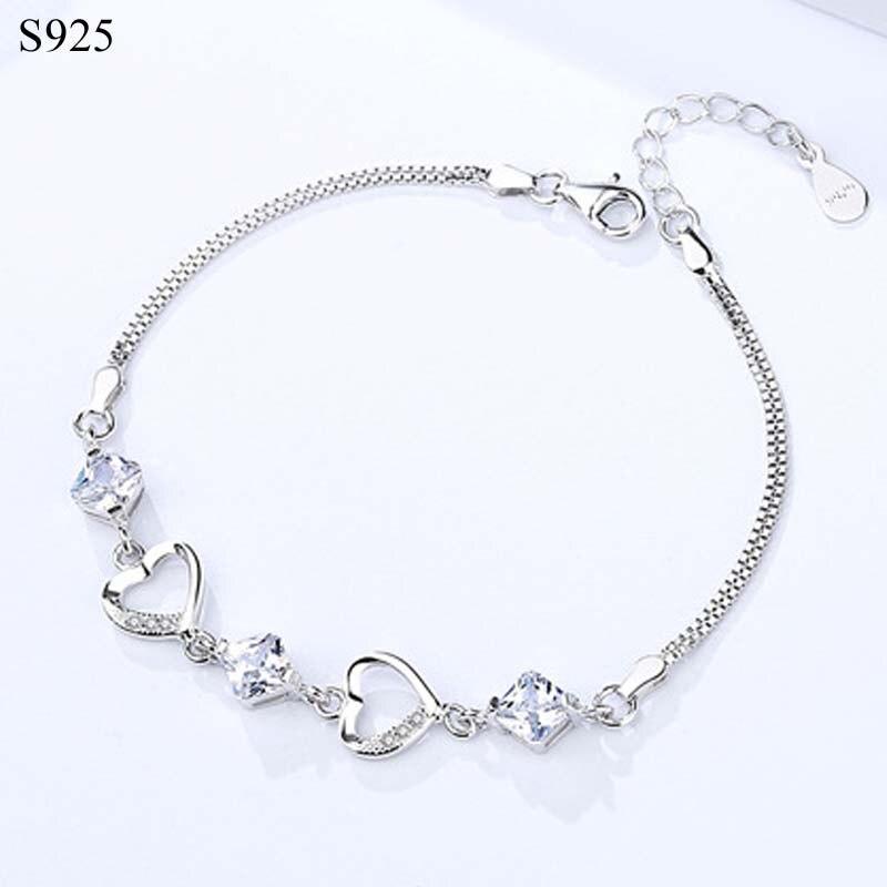 Real genuino pura sólida plata 925 pulsera brazaletes para las mujeres joyería púrpura Cubic Zircon corazón mano de mujer pulsera