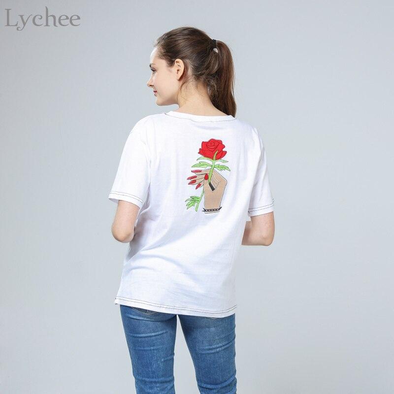 Litchi Harajuku Vintage Style coréen été femmes T-Shirt broderie fleur Rose main à manches courtes T-Shirt
