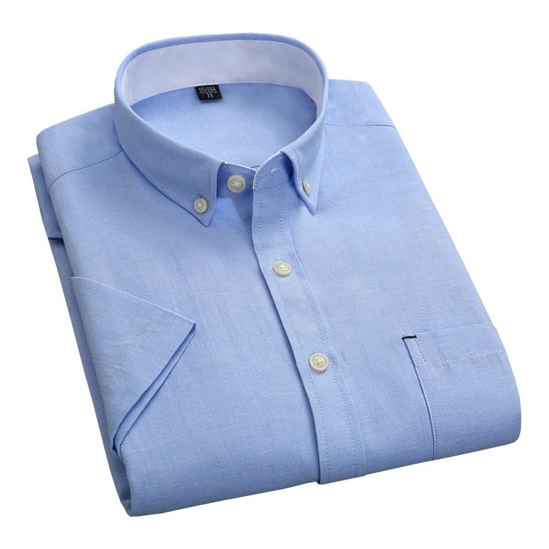 Nueva moda de verano blanco sólido Collar Oxford botón Collar Casual de negocios de los hombres camisas de manga corta de la Oficina vestido de los hombres camisas