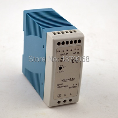 48 V 0.83A 40 W CE aprobado MINI carril Din salida única fuente de alimentación de conmutación MDR-40-48