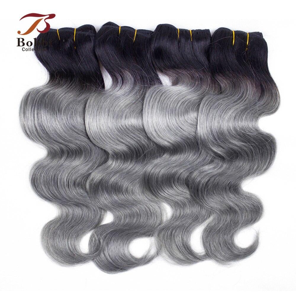 Коллекция Bobbi, 3/4 пучка, бразильские волнистые волосы, T 1B, темно-серый, два тона, Ombre, пучки волос, Remy, человеческие волосы для наращивания