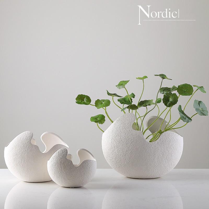 INS Hot Estilo nórdico conciso cáscara de huevo florero de cerámica decoración del hogar Decoración manualidades Ikebana Vaas Vaso Planta hidropónica