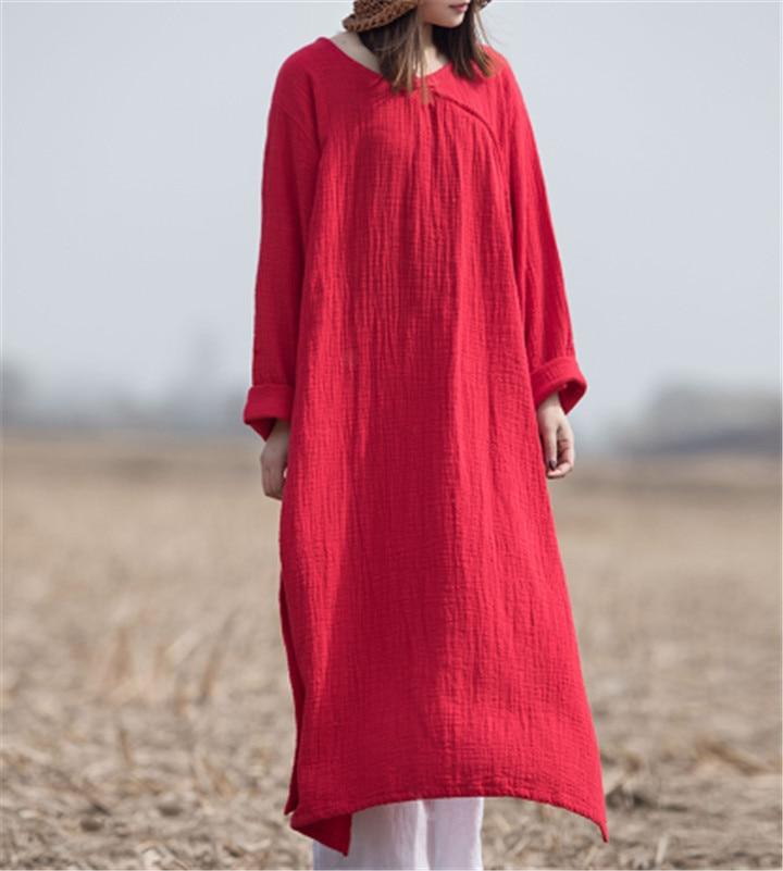 Talla grande 4XL 5XL 6XL mujer cuello redondo maxi vestido con mangas largas verano otoño algodón bata de lino vestidos de talla grande vestidos