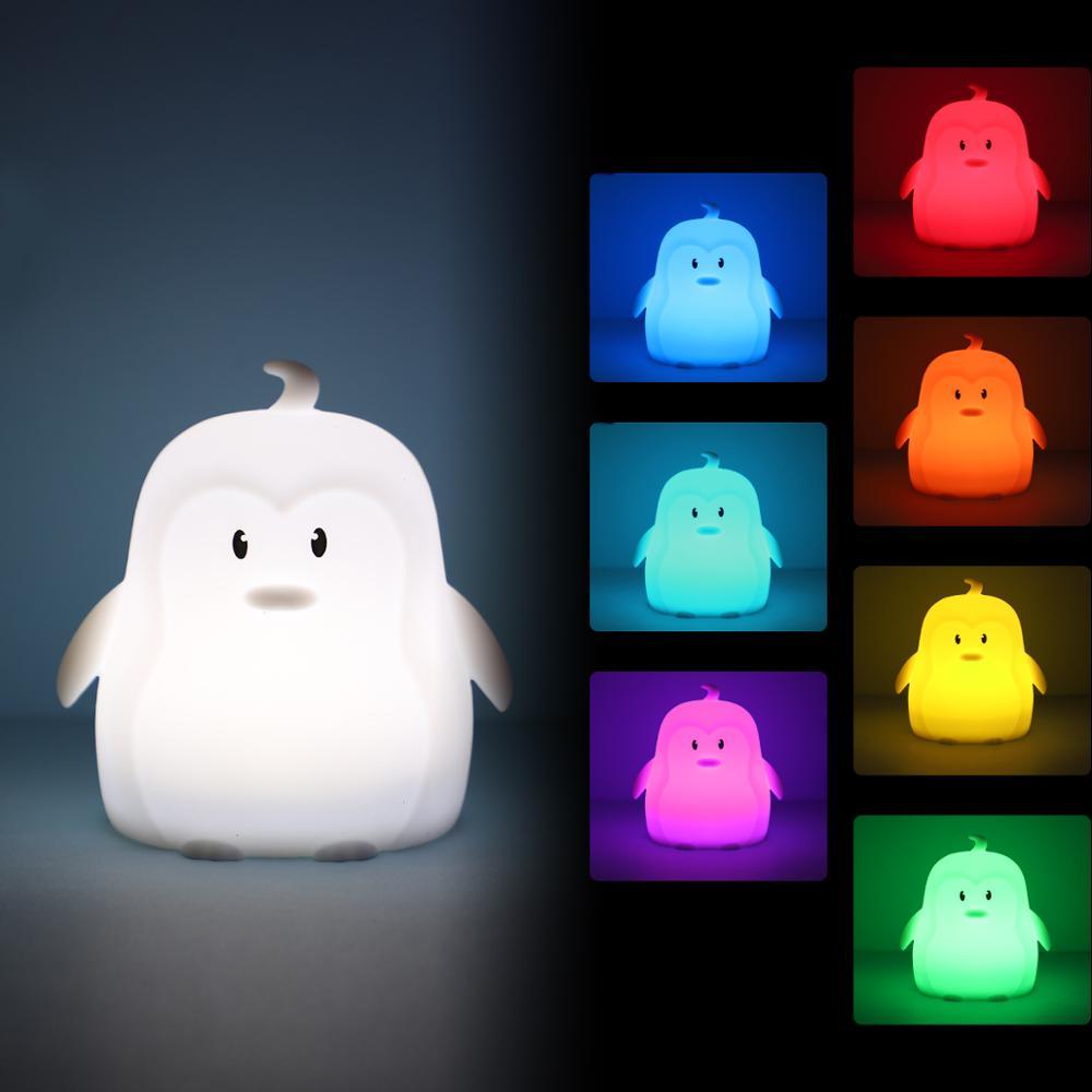 Mini Penguin RGB LED luz de noche iluminación de decoración portátil de dibujos animados de silicona dormitorio lámpara de noche para niños regalo de bebé