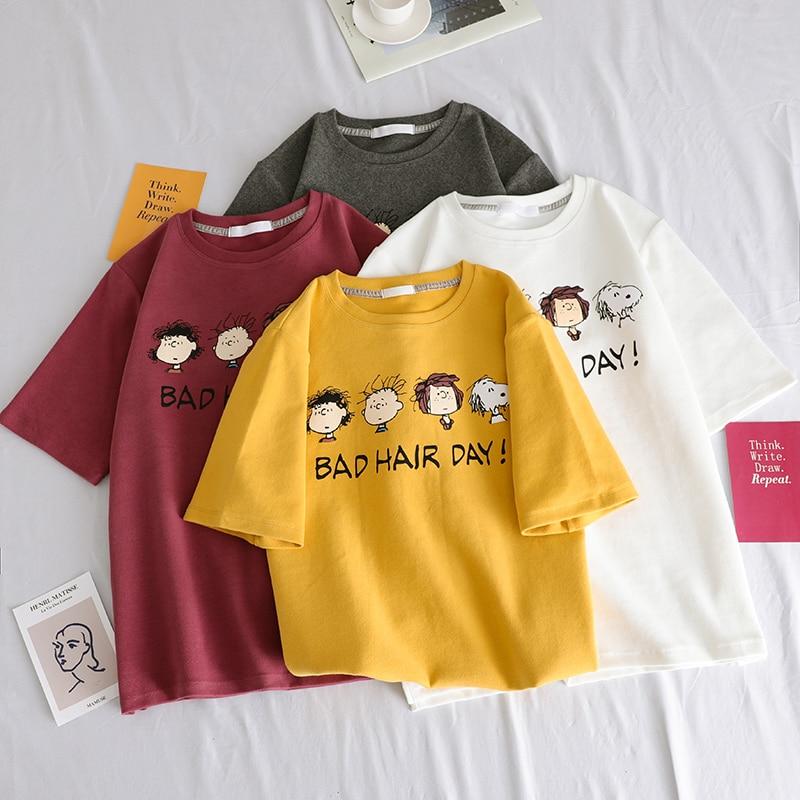 korean Funny cartoon Print T Shirt Women Summer 100% cotton Short Sleeve Tshirts Harajuku Tees 90s girl White O-Neck Casual Tops